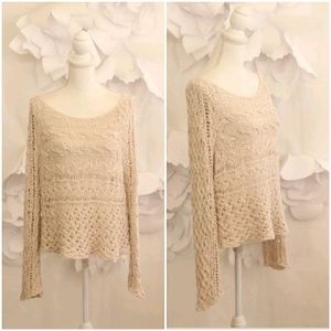 FREE PEOPLE Crochet Knit Sweater Cover- Up M Beige